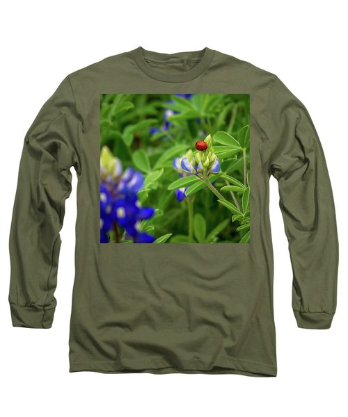 Texas Blue Bonnet And Ladybug Long Sleeve T-Shirt