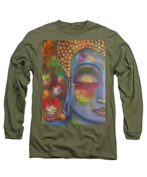 Long Sleeve T-Shirt featuring the painting Buddha In Blue Meditating  by Prerna Poojara