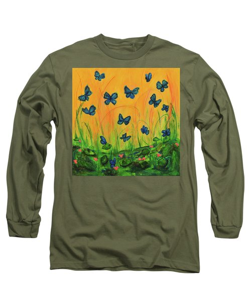 Blue Butterflies In Early Morning Garden Long Sleeve T-Shirt