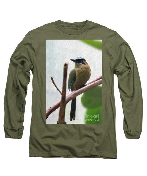 Blue-crowned Motmot Oil Long Sleeve T-Shirt
