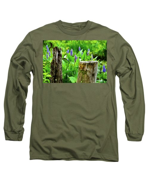 Blue Flowers And Artistic Logs Long Sleeve T-Shirt