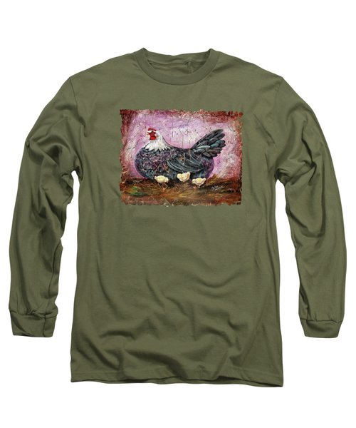 Blue Hen With Chicks Fresco Black Background Long Sleeve T-Shirt