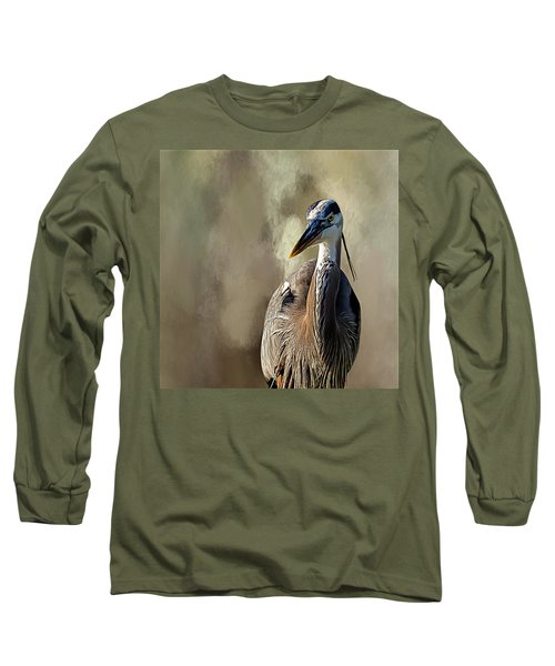 Blue Heron Long Sleeve T-Shirt by Cyndy Doty