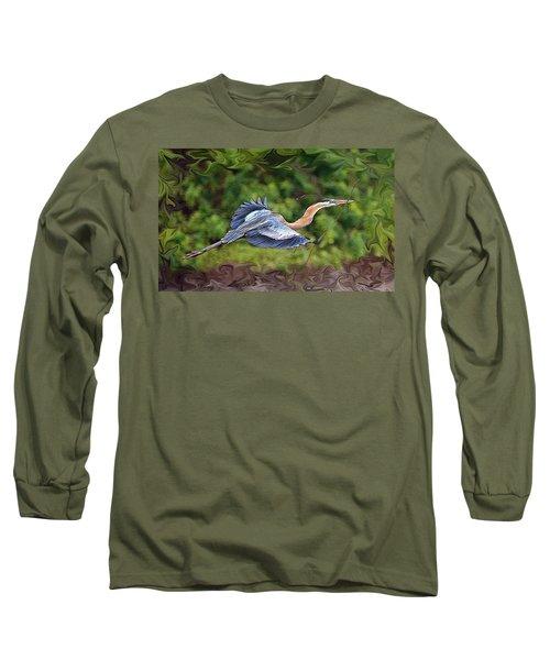 Blue Heron Flight Long Sleeve T-Shirt by Shari Jardina
