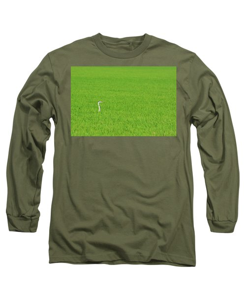 Blue Heron In Field Long Sleeve T-Shirt