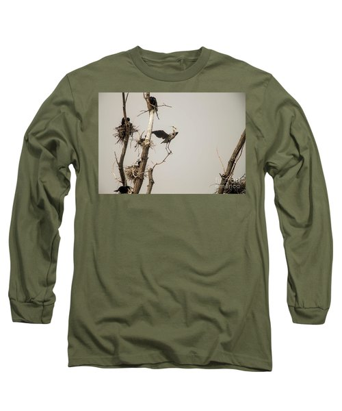 Long Sleeve T-Shirt featuring the photograph Blue Heron Posing by David Bearden