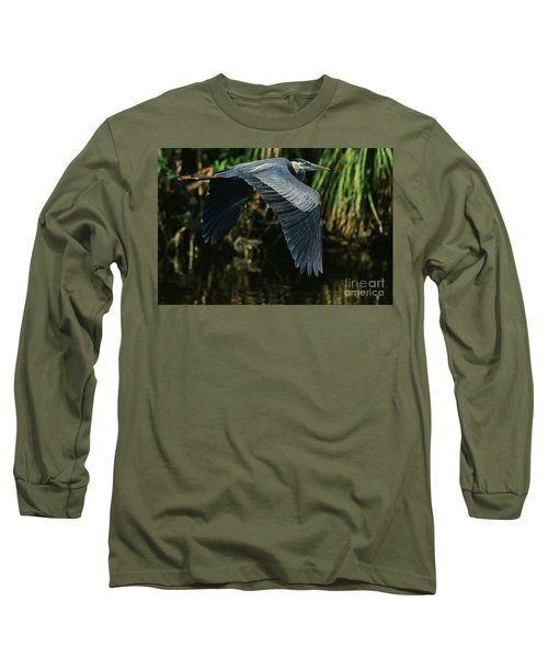 Long Sleeve T-Shirt featuring the photograph Blue Heron Series The Pond by Deborah Benoit