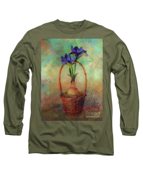 Long Sleeve T-Shirt featuring the digital art Blue Iris In A Basket by Lois Bryan