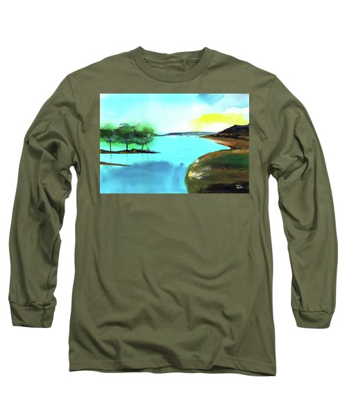 Long Sleeve T-Shirt featuring the painting Blue Lake by Anil Nene