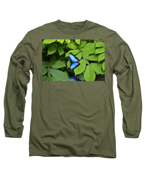 Blue Leaves - Morpho Butterfly Long Sleeve T-Shirt