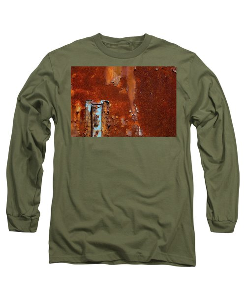 Long Sleeve T-Shirt featuring the photograph Blue On Rust by Karol Livote