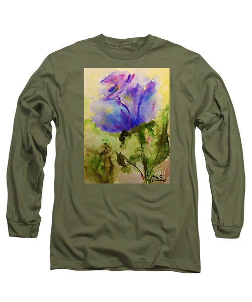 Blue Rose Watercolor Long Sleeve T-Shirt by AmaS Art