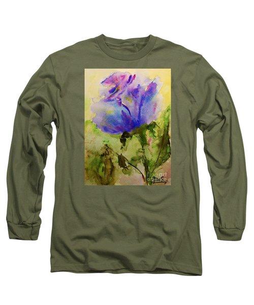 Blue Rose Watercolor Long Sleeve T-Shirt