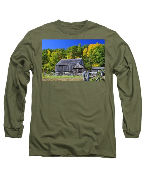 Blue Sky Autumn Barn Long Sleeve T-Shirt