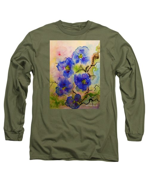 Blue Spring Flowers Watercolor Long Sleeve T-Shirt by AmaS Art
