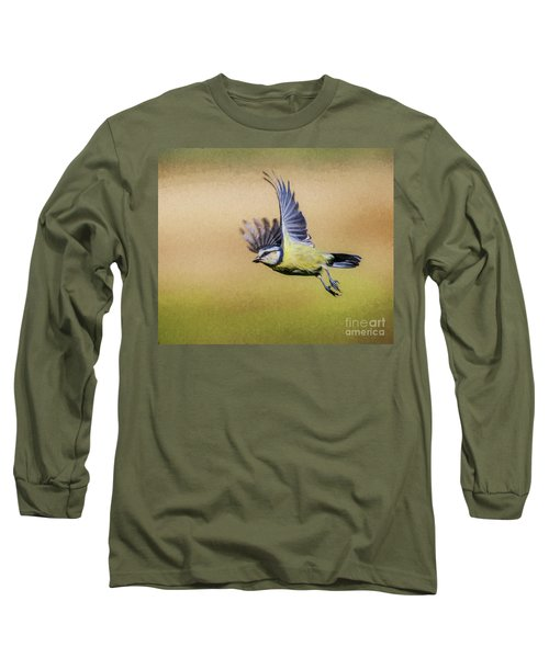 Blue Tit In Flight Long Sleeve T-Shirt