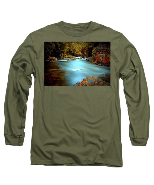 Blue Water And Rusty Rocks Signed Long Sleeve T-Shirt