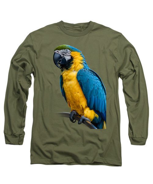Blue Yellow Macaw No.1 Long Sleeve T-Shirt by Mark Myhaver