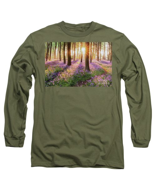 Bluebell Forest Path At Sunrise Long Sleeve T-Shirt