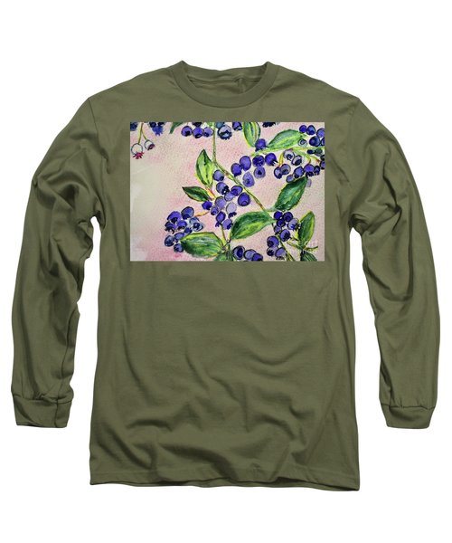 Blueberries Long Sleeve T-Shirt by Kim Nelson