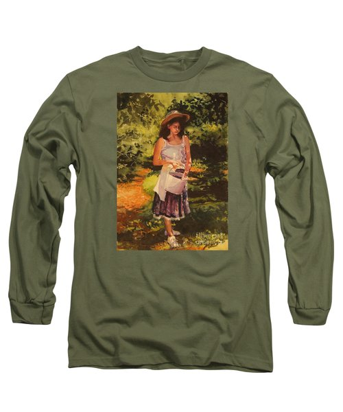 Blueberry Girl Long Sleeve T-Shirt by Elizabeth Carr