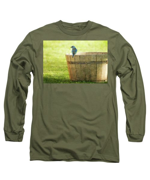 Bluebird Resting On Bucket, Textured Long Sleeve T-Shirt