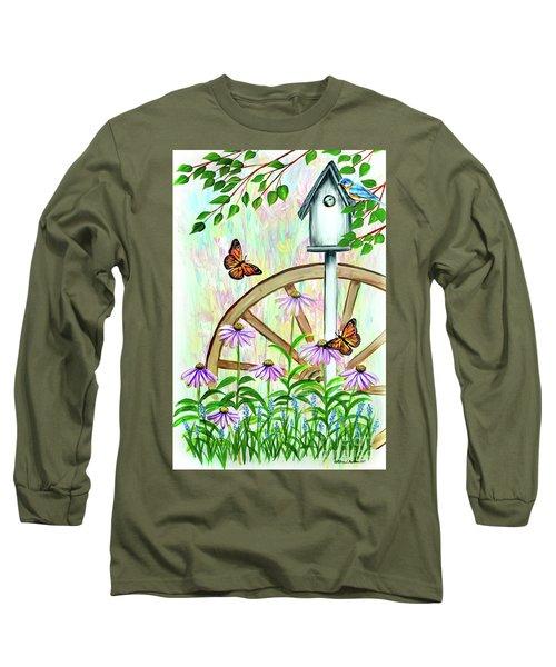 Bluebirds And Butterflies Long Sleeve T-Shirt