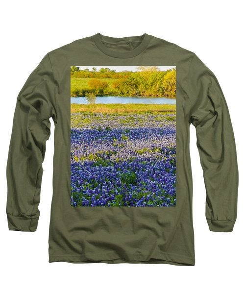 Bluebonnet Field Long Sleeve T-Shirt by Debbie Karnes