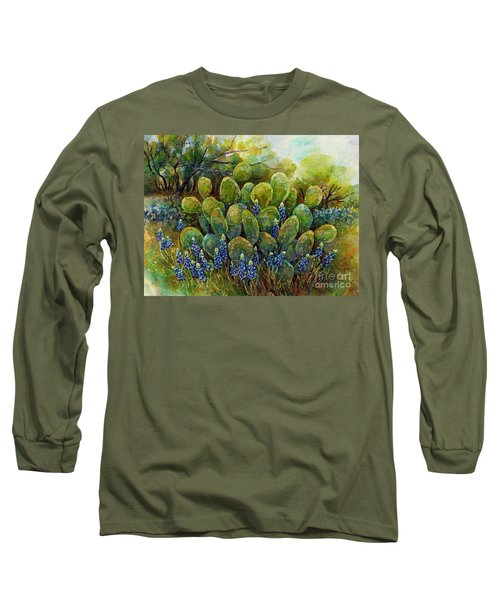 Bluebonnets And Cactus 2 Long Sleeve T-Shirt