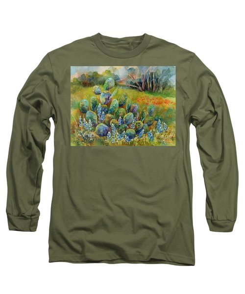 Bluebonnets And Cactus Long Sleeve T-Shirt