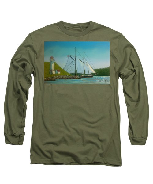 Bluenose Passing Georges Island Long Sleeve T-Shirt by Rae  Smith