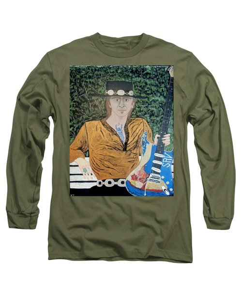 Long Sleeve T-Shirt featuring the painting Blues In The Park With Stevie Ray Vaughan. by Ken Zabel