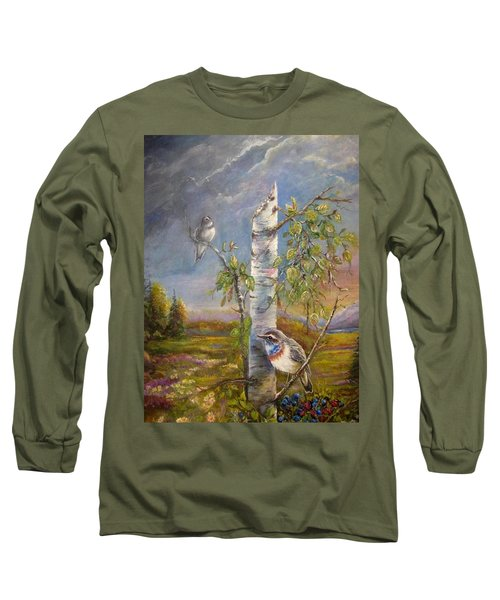 Bluethroat On The Tundra Long Sleeve T-Shirt by Patricia Schneider Mitchell