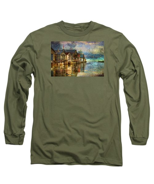 Boat Houses Long Sleeve T-Shirt by Jim  Hatch