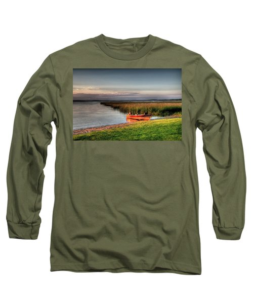 Boat On A Minnesota Lake Long Sleeve T-Shirt