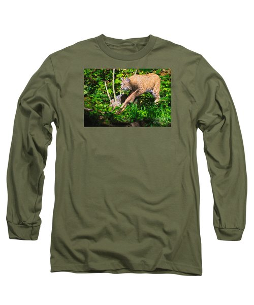 Bobcat At Water's Edge Long Sleeve T-Shirt by Ansel Price