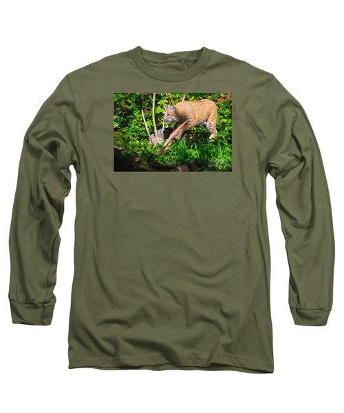 Bobcat At Water's Edge Long Sleeve T-Shirt