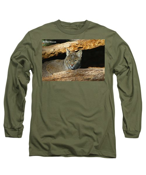 Bobcat Hiding In A Log Long Sleeve T-Shirt