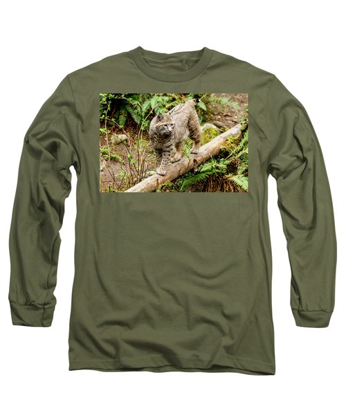 Bobcat In Forest Long Sleeve T-Shirt by Teri Virbickis