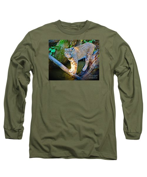 Bobcat Scanning The Water Long Sleeve T-Shirt by Ansel Price