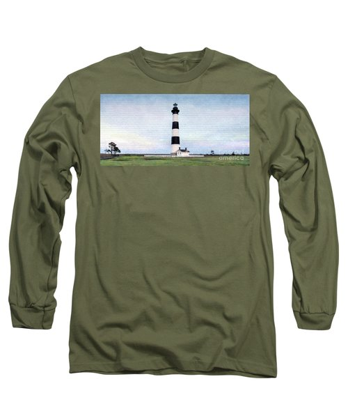 Bodie Island Lighthouse Mural Art Long Sleeve T-Shirt by Marion Johnson