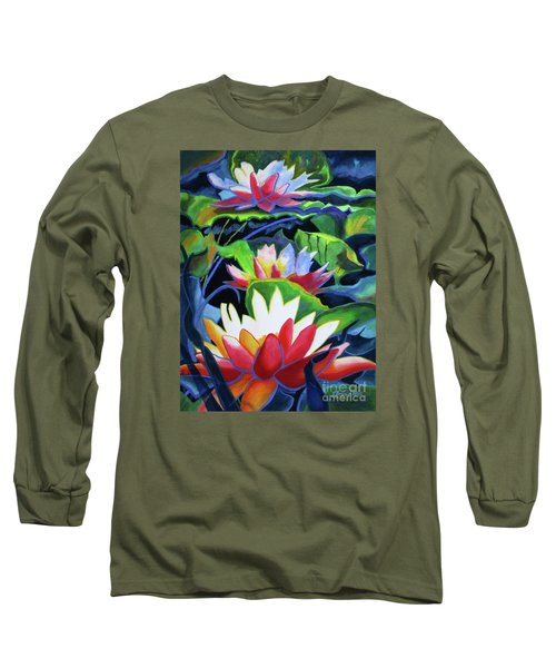 Long Sleeve T-Shirt featuring the painting Bold Lilypads by Kathy Braud