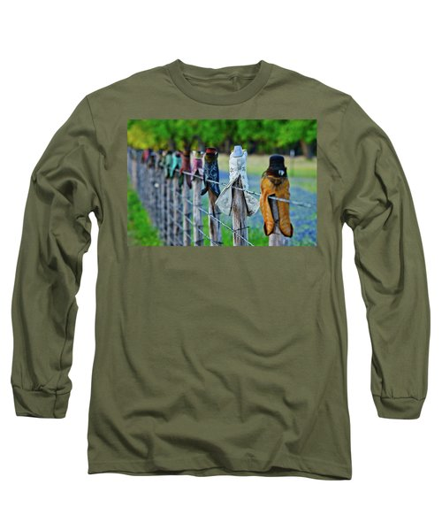 Long Sleeve T-Shirt featuring the photograph Boots On The Fence by Linda Unger