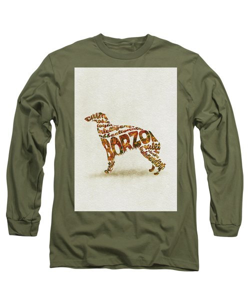 Long Sleeve T-Shirt featuring the painting Borzoi Dog Watercolor Painting / Typographic Art by Inspirowl Design