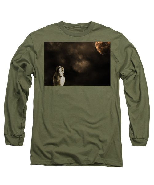 Borzoi Wolf Hound And Full Moon Long Sleeve T-Shirt by Christian Lagereek