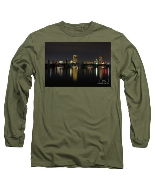 Boston Skyscrappers Behind Bridge Long Sleeve T-Shirt