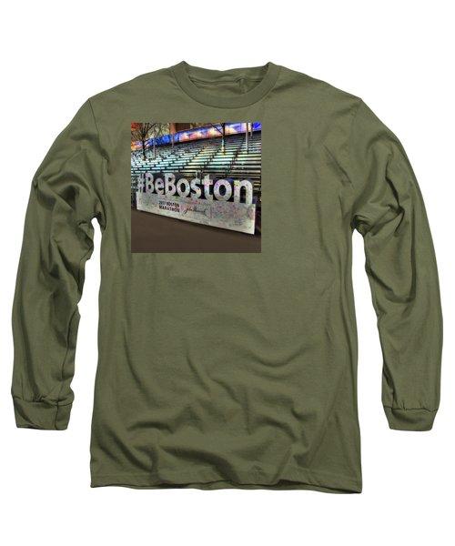 Long Sleeve T-Shirt featuring the photograph Boston Marathon Sign by Joann Vitali