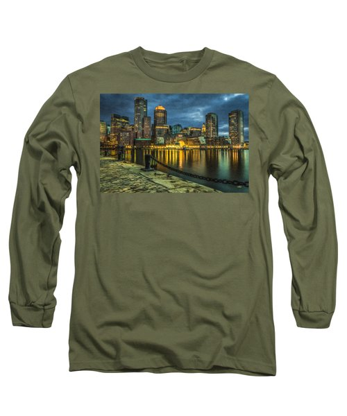 Boston Skyline At Night - Cty828916 Long Sleeve T-Shirt