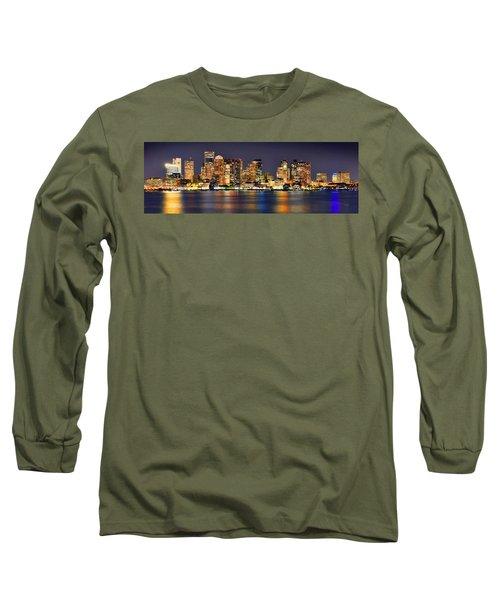 Boston Skyline At Night Panorama Long Sleeve T-Shirt