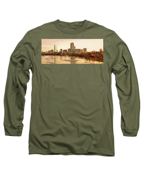Boston Skyline On A December Morning Long Sleeve T-Shirt by Mitchell R Grosky